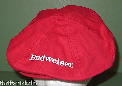 Vintage 80's Budweiser Flat Cap Golf Style Snap Back Adjustable Red Hat New