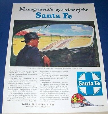 1946 Santa Fe Railroad Ad~man has view from fireman's seat inside locomotive