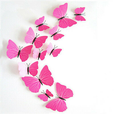 12pcs  3D Butterfly Wall Stickesr Art Decals Room Home DIY Decoration Rose Pink