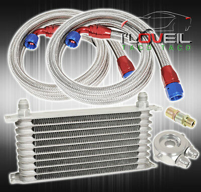 9 Row An10 10An Engine Transmission Oil Cooler Relocation Adapter Kit Set Silver