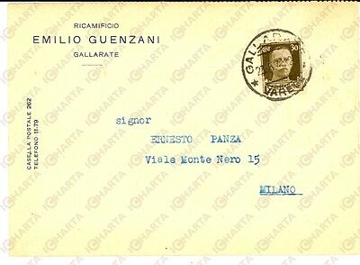 1941 GALLARATE (VA) Ricamificio Emilio GUENZANI *Cartolina intestata FG VG