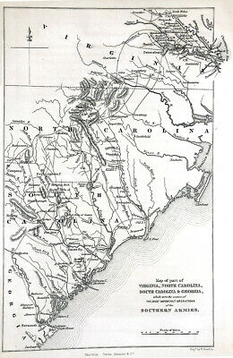 Old 1870 Map of VIRGINIA & NORTH SOUTH CAROLINA lists SOUTHERN ARMY BATTLE SITES