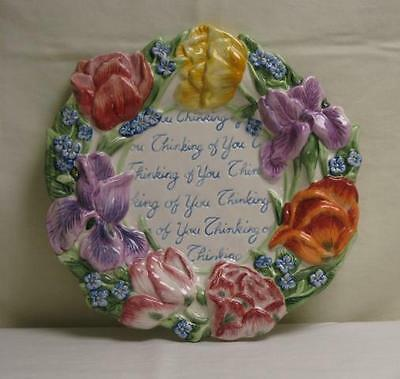FITZ & FLOYD SPRING BOUQUET PLATE THINKING OF YOU FLOWERS YELLOW LAVENDAR NEW!!