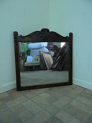 antique solid oak carved dresser wall mirror parts salvage