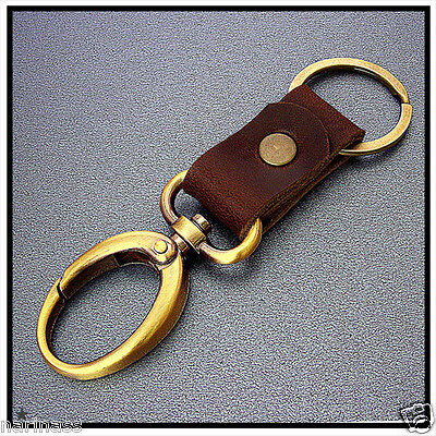 KEY CHAIN & LEATHER OVAL Hooks Snap  Keyring (Brass Metal Tone) (94)a