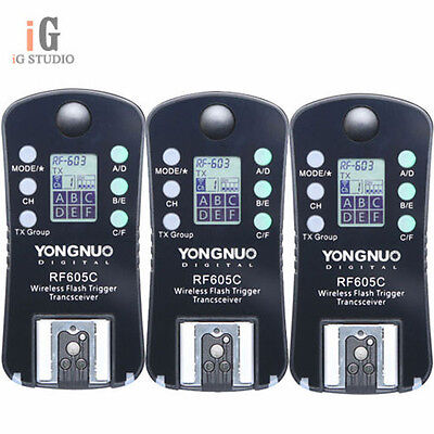 3x Yongnuo Wireless Flash Trigger Transceiver RF-605C LCD For Canon RF 603 602