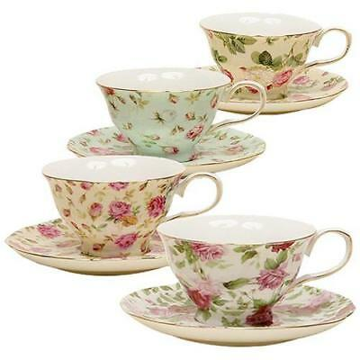 Gracie China Rose Chintz 8-Ounce Porcelain Tea Cup and Saucer, Set of 4 New