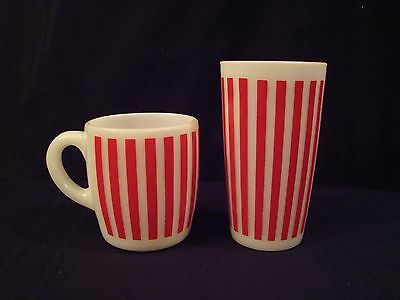 Vintage Milk Glass Anchor Hocking Red Candy Stripe Mug & Tumbler Mint Condition