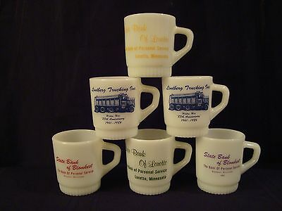 6 Fire King Anchor Hocking Bank & Trucking Advertising Mugs in MINT Condition