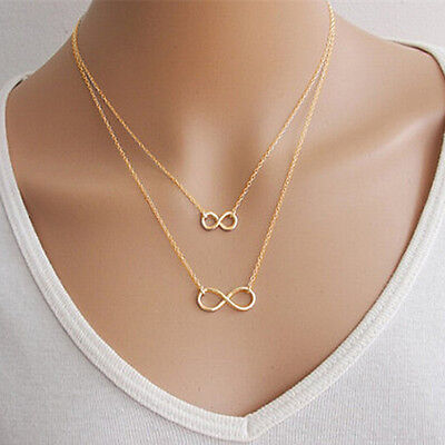 Celebrity Jewelry Infinity Lucky 8 Statement Bib Charm Chain Necklace Pendant