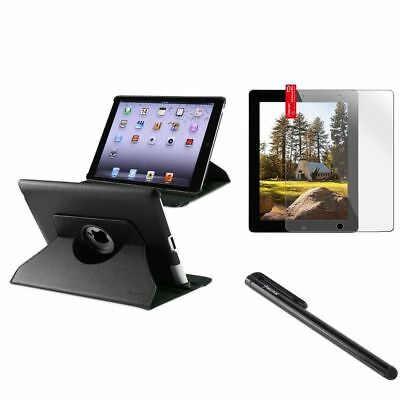 Black 360 Swivel Leather Case Pouch+Clear Guard+Black Pen For iPad 4 4G