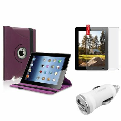 Purple 360 Degree Leather Case+Matte Guard+1A Car Charger Adapter For iPad 2/3
