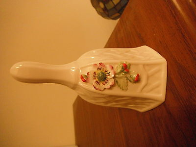BELLEEK SMALL BELL WITH RED FLOWERS GREEN PETALS BRAND NEW