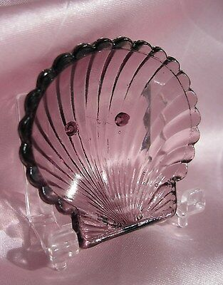 H&J #299 ~ CAMBRIDGE AMETHYST FTD. CLAM SHELL OPEN SALT CELLAR, DIP, DISH, PINCH