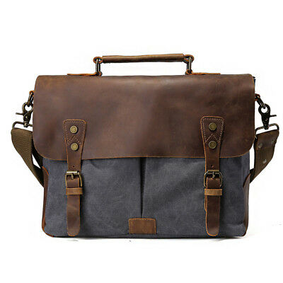 Men Briefcase Tote Laptop Mans Shoulder Messenger Bag Satchel Canvas&Leather