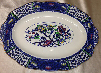 """ALFRED MEAKIN PATRICIA 14.5"""" OVAL PLATTER COBALT BLUE WHITE MULTICOLORED FLOWERS"""