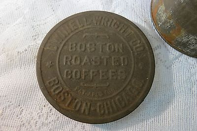 Antique Original Dwinell-Wright Co Boston Roasted Coffee Can Tin w/Embossed Lid