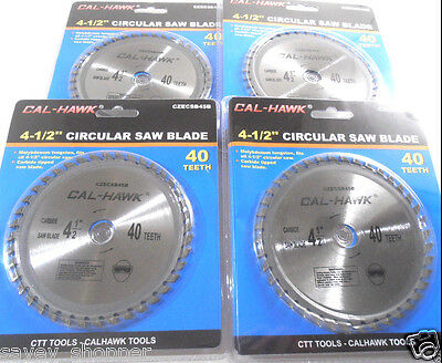 "Lot Of (4) 4 1/2"" Carbide Tungsten Circular Saw Blade 40 Tooth Free Shipping"