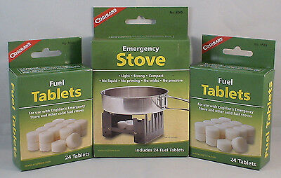 1 SURVIVAL EMERGENCY STOVE W72 FUEL TABS COMBO KIT PACK KEEP WARM COOK SMOKELESS