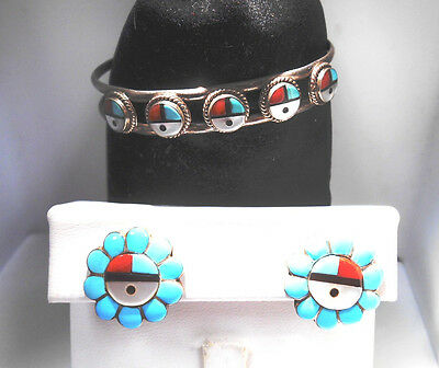 Zuni Sterling Silver stone Bangle and clip on earings SET