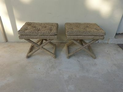 70's Chic & Stylish X Stretcher Benches In Lee Jofa / Kravet Cut Velvet Fabric