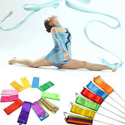 4M Gym Dance Ribbon Rhythmic Art  8 Colors Gymnastic Streamer Twirling Rod Stick