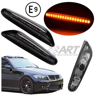 Intermitentes oscuros con barra de led naranja para Bmw E92 E93 side repeaters