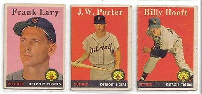 1958 TOPPS DETROI TIGERS  LOT OF 3 DIFFERENT  LARY,PORTER,HOEFT