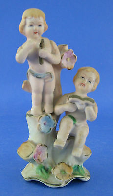 Bisque Vintage Cherub Angel Figurine Flute Pipe Book Flowers AS IS