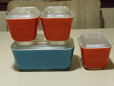 VINTAGE PYREX PRIMARY COLORS REFRIGERATOR DISH DISHES WITH LID LIDS + BONUS
