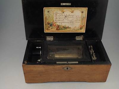 Nice Antique 6 Tune Cylinder Music Box- Currently Working