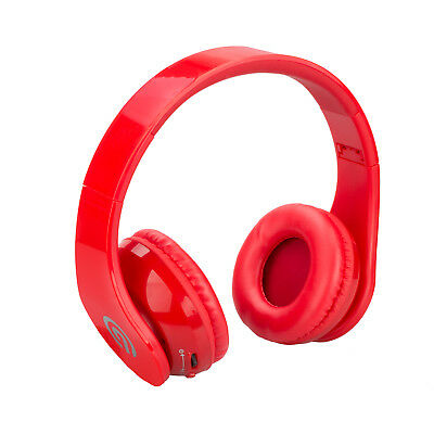 NINETEC Stereo9 WIRELESS BLUETOOTH Stereo DJ Kopfhörer HEADSET HIFI Audio Rot