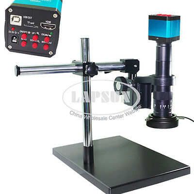 14MP HDMI HD Microscope USB Industrial Camera +180X C-mount Lens + Stereo Stand