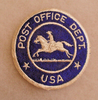 """RARE 1950/60s """"POST OFFICE DEPT"""".""""USA"""" PATCH WITH RUNNING HORSE WHITE ON BLUE"""