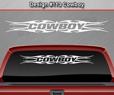 #116 COWBOY Windshield Decal Window Sticker Vinyl Graphic Tribal Flame Rodeo SUV