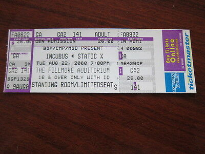 INCUBUS Static X concert ticket 2000