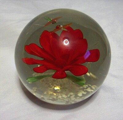 Red Flower With Two Bugs Paperweight Art Glass Floral