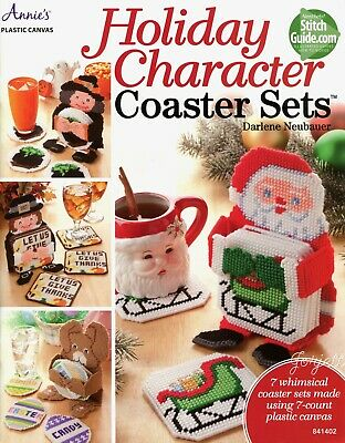 Holiday Character Coaster Sets, Annie's plastic canvas patterns
