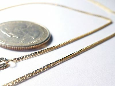 14kt Solid Gold .8MM Box Chain-13/16/18/20/24/30 inch- W/Y/P GOLD w/LOBSTER LOCK