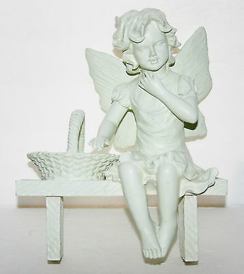 ANGEL SITTING ON WOODEN BENCH WITH BASKET HOME GARDEN DECOR CANDLE INCENT HOLDER