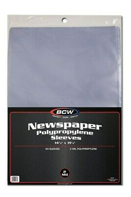Pack of 50 BCW 14 x 19 Newspaper Acid Free 2-Mil Clear Poly Sleeves 14x19