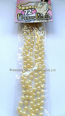 20s 30s 40s Long Pearl Bead Necklace Flapper Moll Gatsby Girl Ladies Fancy Dress