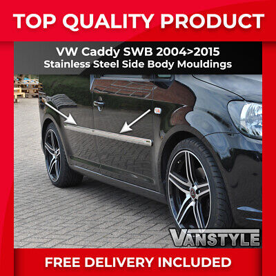 Vw Caddy 2004-15 Swb Side Moulding Chrome Trim Cover Set Body Bumper Protector