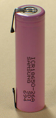 Li-Ion SAMSUNG 18650 3.6V 2.6Ah/2600mAh Cell with Tabs!