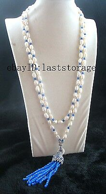 """freshwater pearl white leopard clasp necklace 70"""" nature"""