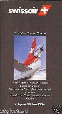 Airline Timetable - Swissair - 07/04/96 - North Central America Carib edition