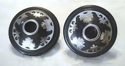 RARE VINTAGE ESTATE 30's SILVER METAL INLAID DESIGN BLACK HARVITE CANDLE HOLDERS