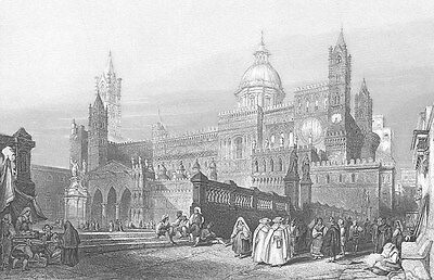 PALERMO CATHEDRAL CHURCH Santa Maria Assunta, Old 1841 Art Print Engraving RARE!