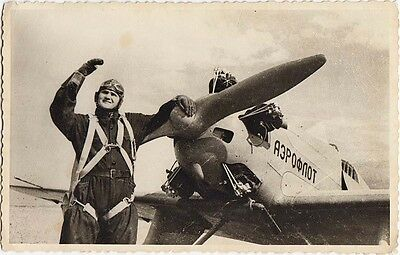 """RUSSIA USSR Pilot with PARACHUTE near """"AEROFLOT"""" Airplane Real Photo 1950s"""