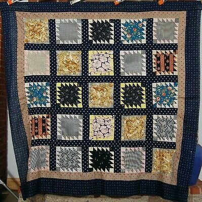 Vintage 1890s Sawtooth Delectable Mountain Antique Quilt Top ~NICE EARLY FABRIC!